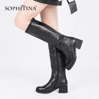 SOPHITINA 2019 Новая пикантная обувь до колена Высокие сапоги из коровьей кожи Элегантные круглый носок теплые короткие плюшевые ботинки зимние т