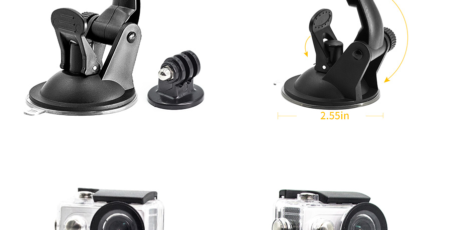 TJP Car Window Windshield Glass Suction Cup Mount for Hero 4 3 2 1 Camera