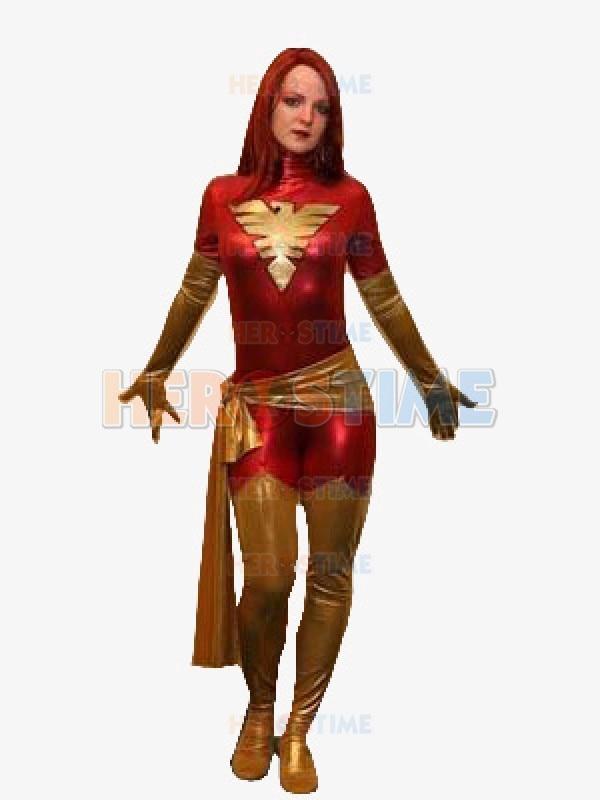 Red X Men Dark Phoenix Superhero Costume classic halloween cosplay spandex Metallic X Men costume hot