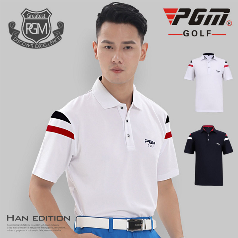 PGM Golf POLO Shirt Men Polyester Turn-down Collar Jersey Short sleeves Breathable Comfortable Soft Good Elastic Quick dry Navy