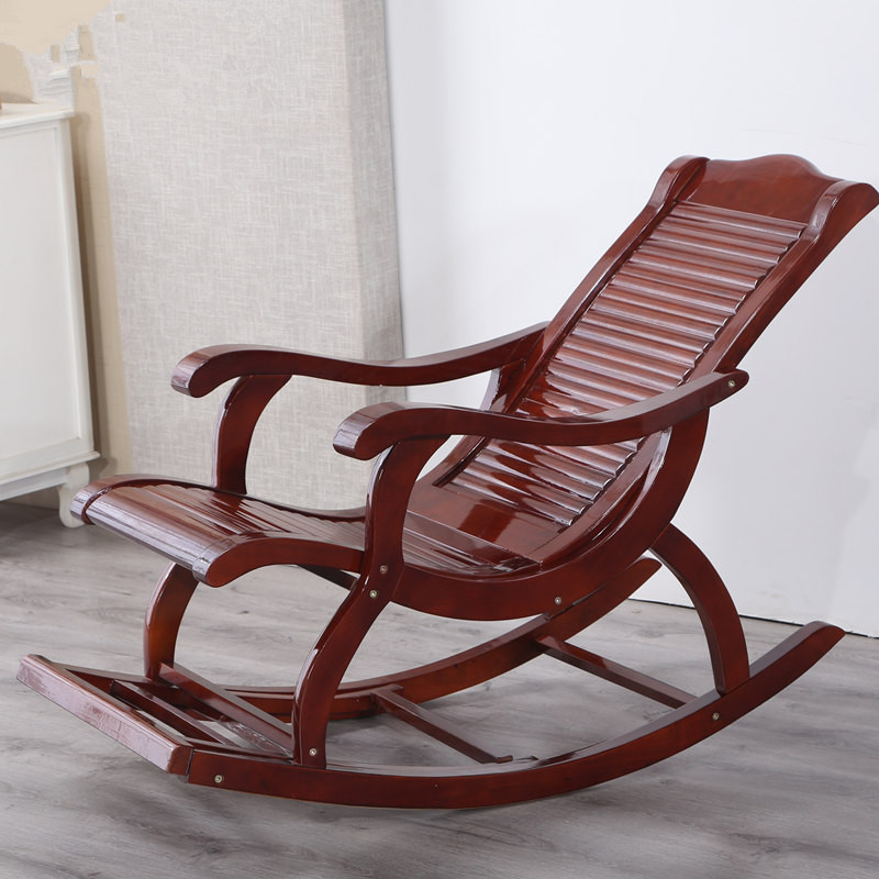 Hardwood Indoor Modern Adult Rocking Chair Rocker Living Room Furniture or Outdoor as Balcony Chair Wooden Porch Rocking Chair carbonized wood outdoor balcony living room lounge chair recliner chairs rocking happy old