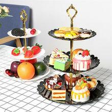 Новейшая 3 ярусная пластиковая подставка для десерта, послеобеденного чая, свадебные тарелки, вечерние столовые приборы, трехслойная подставка для торта