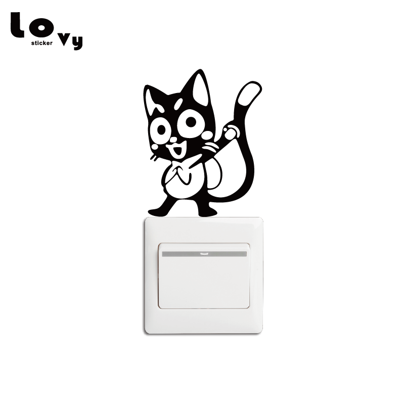 anime fairy tail happy switch sticker funny cartoon cat vinyl wall decal for bedroom home decor