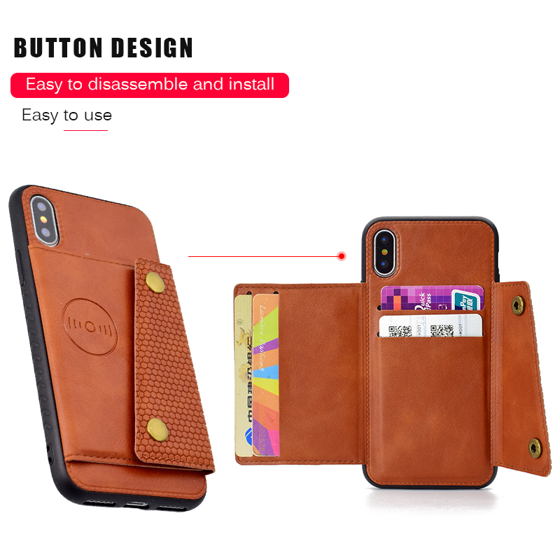 PU Leather Case For iPhone X 6 6s 7 8 Plus 5S SE Multi Card Holders Case Cover For iPhone 8 7 6 6s Plus X Shells Capa