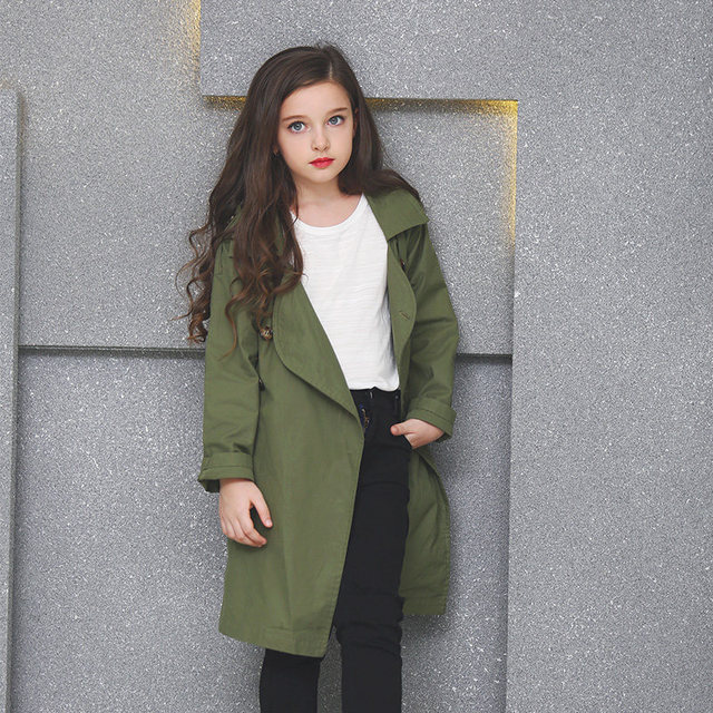 2016 осеннее пальто для Обувь для девочек длинные Стиль Винтаж осень  верхняя одежда, ветровка для d45b4223fc9