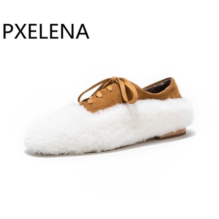 Vraie 2019 marron Chaussures Carré Suede Plates Laine D'agneau Noir Automne Mocassins Bout Printemps À Nouveau Dames Fourrure Pxelena Magnifique Kid Femmes Peluche Appartements sdthQr