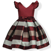 Kids Girls Party Dress 2017 New Arrival Striped V-neck Dresses Birthday Wedding Christmas Frocks Blue Wine Red For 3-10Yrs GD10