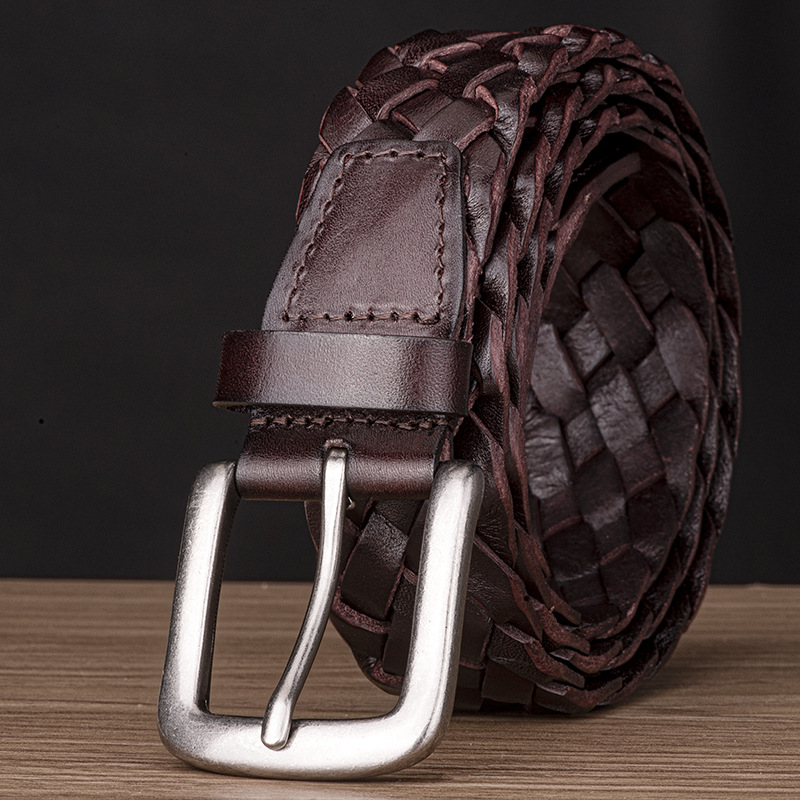 Belt with Woven Full-Grain Genuine-Leather Knitting-Design Men title=