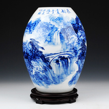 "Jingdezhen ceramics celebrity famous ""Wu Wenhan"" master hand blue rhyme vase collection certificate"