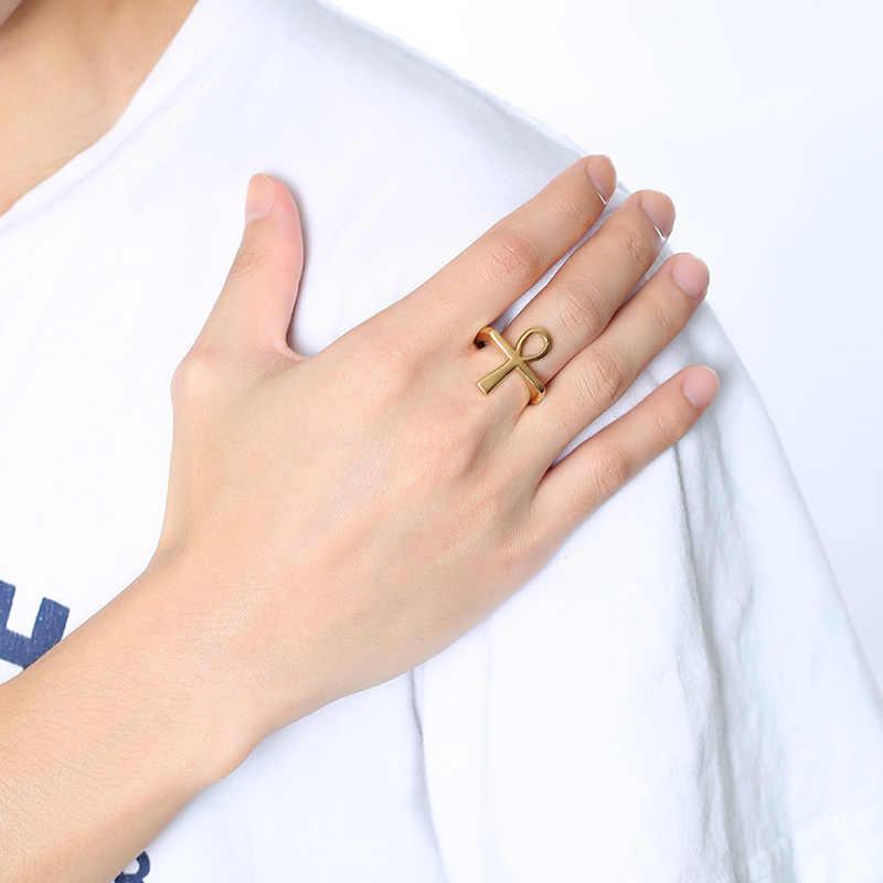 Vnox крест мужское кольцо золотого цвета из нержавеющей стали Египетский крест Анкх ключ жизни Мужской палец кольца ювелирные изделия