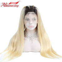 Ali Amazing Ombre Blonde Glueless Lace Front Remy Human Hair Wigs 150% Density 1B/613 Pre Plucked Lace Front Wig With Baby Hair