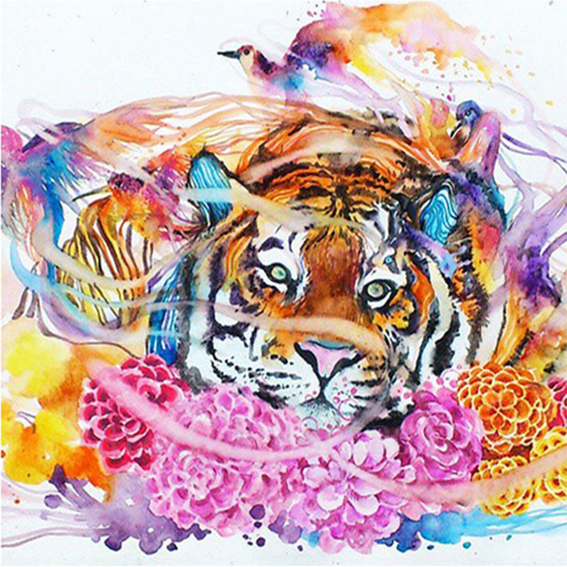 Diy Diamond Painting Cross Stitch Tiger In The Flowers Diamond Mosaic - Arts, Crafts and Sewing
