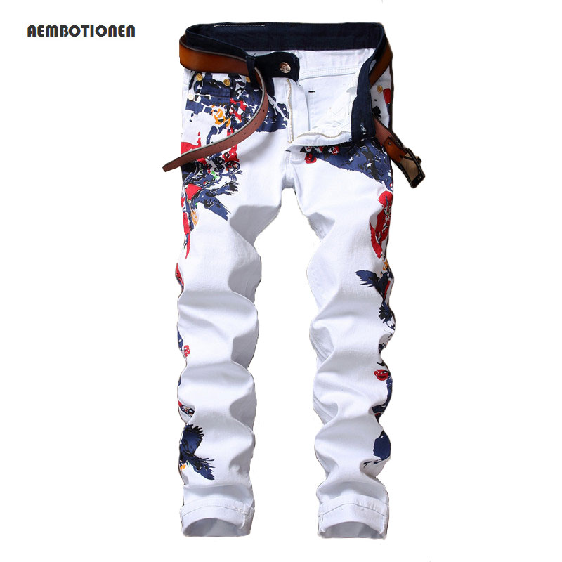 New 2017 Men`s Printed Jeans Pants Punk Style Gothic Painted DJ Club Night Slim Straight Leg Cool Jeans For Young Men charter club women s comfort waist slim leg pants 18 warm toffee