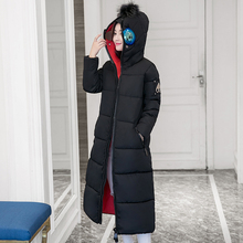 M-2XL 2016 new winter women cotton coat long slim to knee jacket hooded long sleeved padded thick with glasses