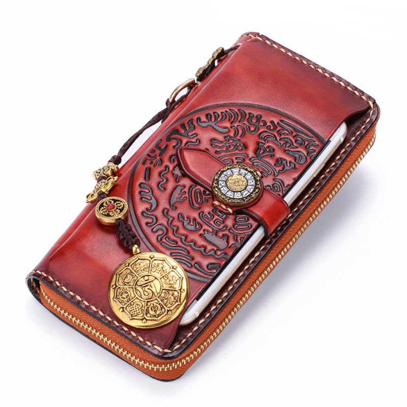 2018 Original Women Men Cow Leather Wallets Embossing Chinese Hasp Bag Purses Long Clutch Wallet Card Holder Cell Phone Pocket fashion women pu leather long wallets hasp solid clutch card holder purse coin zero wallet women cell phone key hangbag bag