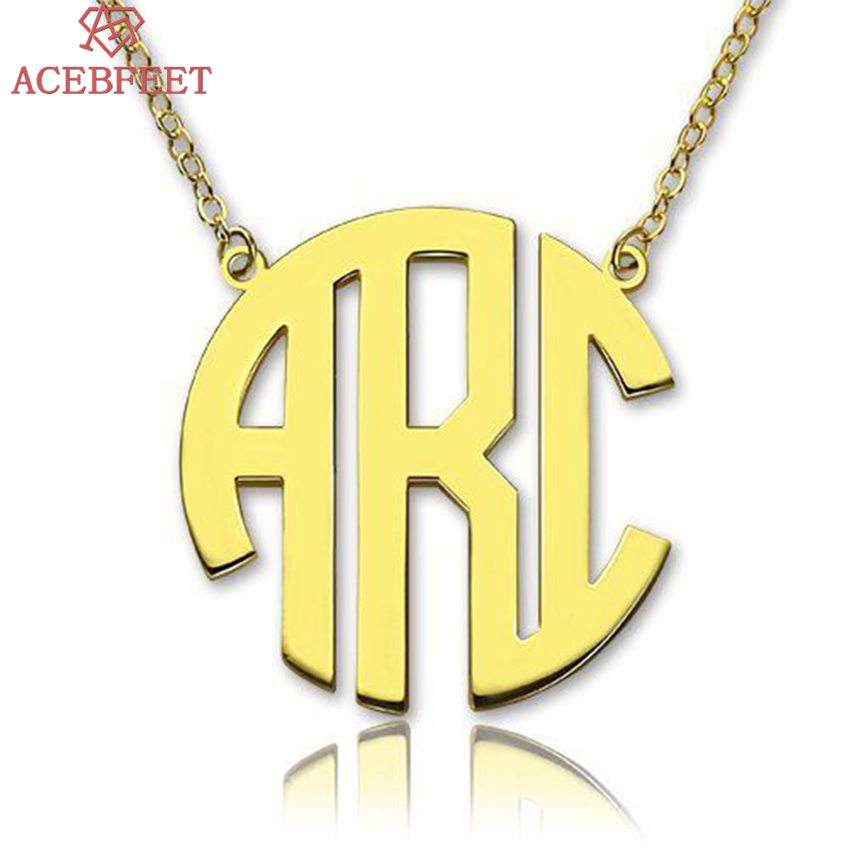 ACEBFEET Custom Initial Letter Pendant Necklace Unique Personalized Capital Monogram Initial Name Necklaces Best Friends Gift