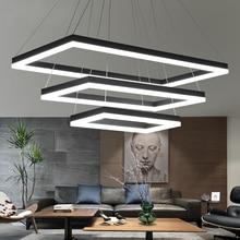 מלבני מודרני LED תליון אורות סלון חדר שינה אוכל חדר שחור/לבן/חום אלומיניום בית דקו אקריליק תליון מנורה