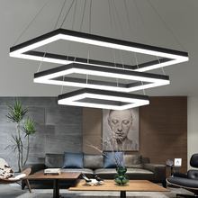 Rectangular Modern LED Pendant Lights Living Room Bedroom Dining Room Black/White/Brown Aluminum Home Deco Acrylic Pendant Lamp modern aluminum iron metal pendant lights gold silver black white nordic designer plated ring pendant lamp for home room pll 769