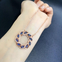 Collier Collares Qi Xuan_Dark Blue Stone Fashion Pendant Necklace_Real Necklace_Quality Guaranteed_Manufacturer Directly Sales