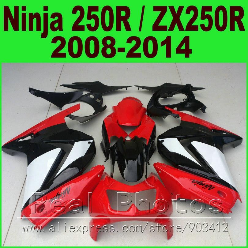 Red white Kawasaki EX250 Fairings kit 2008 - 2014 year Ninja 250r ZX 250 08 09 10 11 12 13 14 fairing kits R6L2