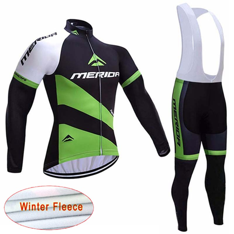 2018 MERIDA Winter Thermal Fleece Long Sleeves Cycling Jersey Ropa Maillot Ciclismo Bicycle MTB Bike Bib Long Pants Set D0904 цена