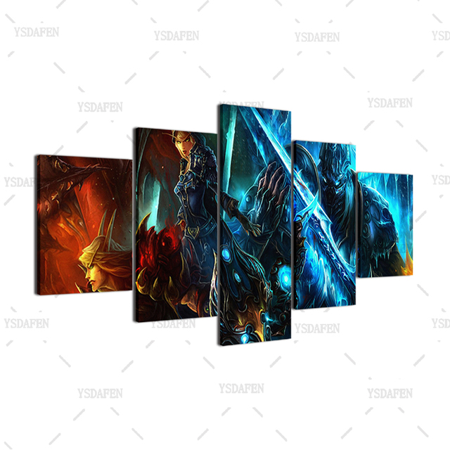 Wall Art Canvas Paintings Living Room Decor 5 Pieces World Of Warcraft Pictures HD Printed Framed Game Warrior Soldiers Posters 4