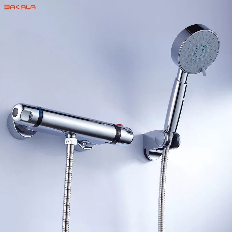 BAKALA Shower Faucets Temperature Faucet Mix Water Valve Full Copper For Thermostatic Core 38 Centigrade china sanitary ware chrome wall mount thermostatic water tap water saver thermostatic shower faucet