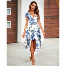 S-XXL Plus Size Print Floral Dress Women Short Sleeve Long Dress Women with Sashes Flower Summer Beach Dress 2019 Vestidos Robe цена