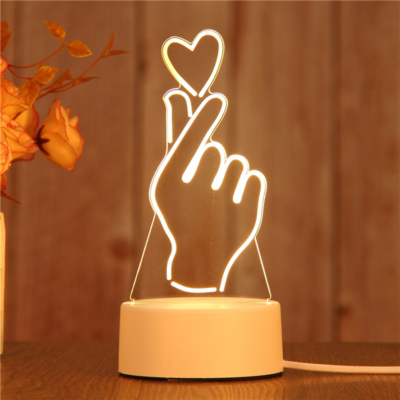 New Best Selling Nordic Creative Nightlight Novelty Decoration 3d Print Light Girl Best Gift 3D Lightning Night Light