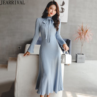 New Fashion Long Sleeve Knitted Winter Dress 2018 Women's O Neck Black Red Casual Sweater Dress Elegant Midi Vestidos Mujer