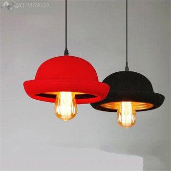 JW_American Retro Hat Pendant Lamp Creative Cloth Pendant Light Aisle Coffee Shop Bar Restaurant Indoor Lighting Decor Fixture