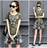 New Womens Camouflage Suits Sets Fashion 1 Round Neck T Shirts And 1 Mini Skirts Female