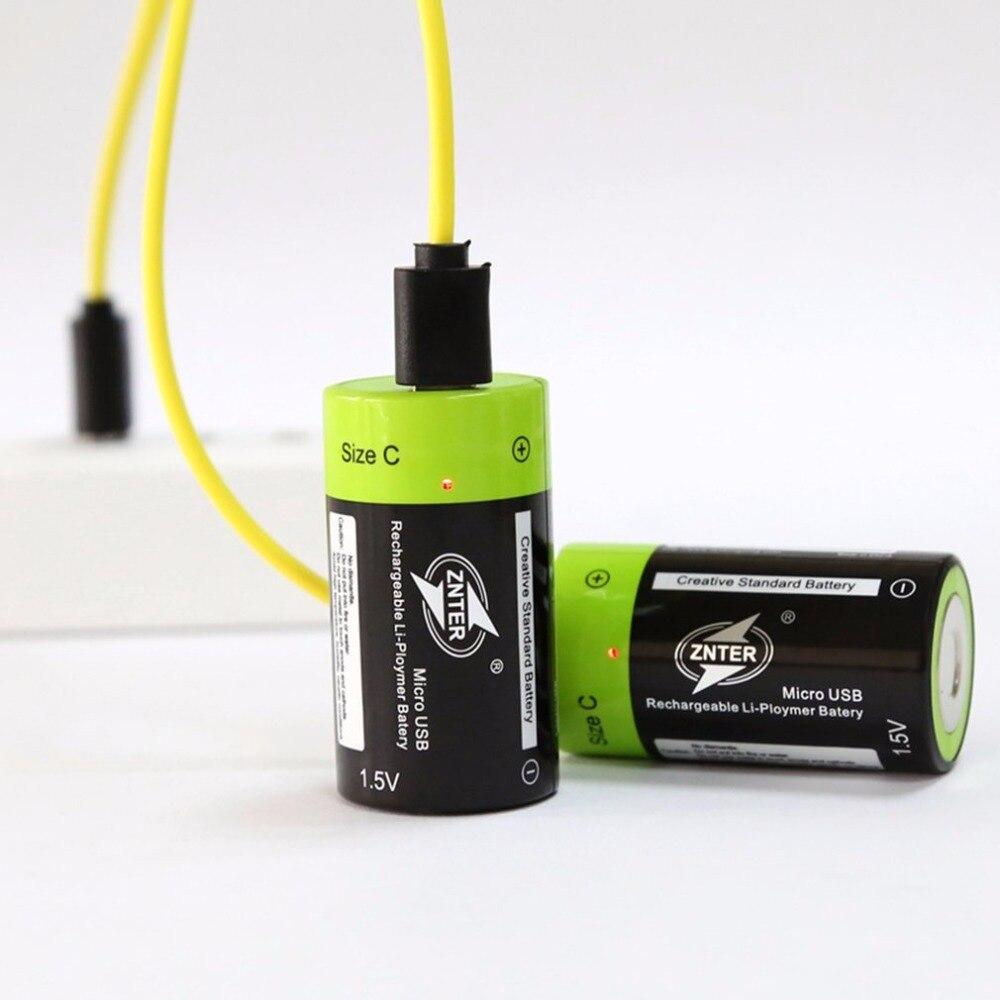 2 pçs/lote ZNTER Chegada Nova 1.5 V 3000 mAh Baterias Reachargeable Bateria Lipo Recarregável classe A + C Tamanho Micro Baterias USB