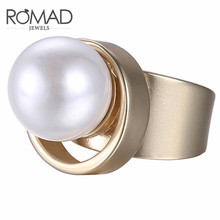 Romad Geometric Statement Cuff Rings for Women Large Imitation Pearl Copper Gold Fashion Brand Jewelry a suit of vintage geometric leaf cuff rings