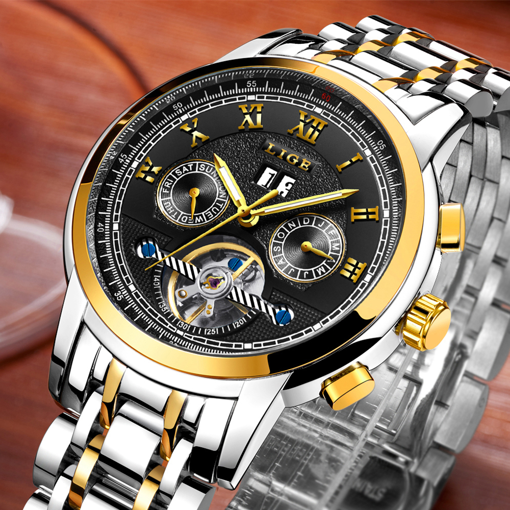 цена на New 2017 LIGE Brand Watch Men Top Luxury Automatic Mechanical Watch Men Stainless Steel Clock Business Watches Relogio Masculino