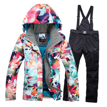 Warm thick waterproof coat high-quality clothing Gsou snow Winter women ski suit outdoor sports ski jacket and pants