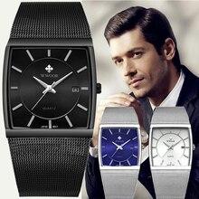 2019 WWOOR למעלה מותג יוקרה Mens כיכר קוורץ שעונים זכר עמיד למים תאריך שעון שחור רשת נירוסטה שעון יד עבור גברים