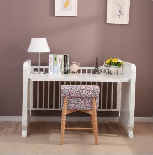Baby Furniture Pine Wood Material White Baby Cot Bed With ...