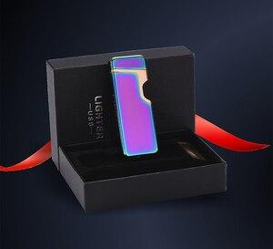 Image 5 - Encendedor eléctrico USB encendedor de Plasma de doble arco recargable a prueba de viento encendedor de cigarrillos logotipo láser gratis