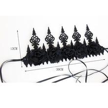 Novelty Dark Gothic Wind Black Crown Halloween Cos Makeup Masquerade Performance Photo Garland Headband Headwear