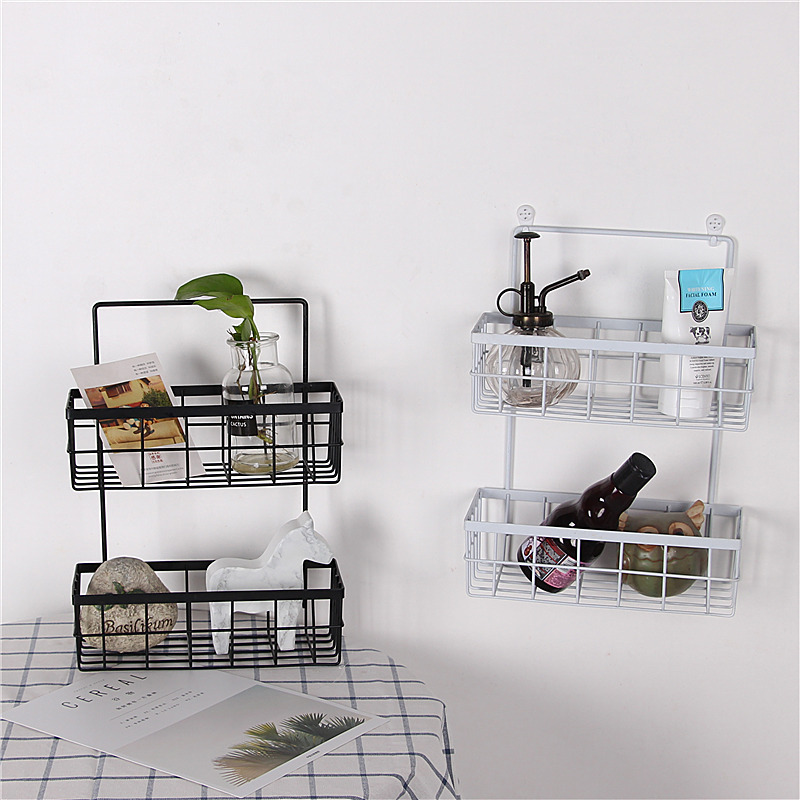 Multi-use Double-layer Net Basket Wall Hanging Storage Iron Shelf Kitchen Rack Bathroom Toiletry Organizer