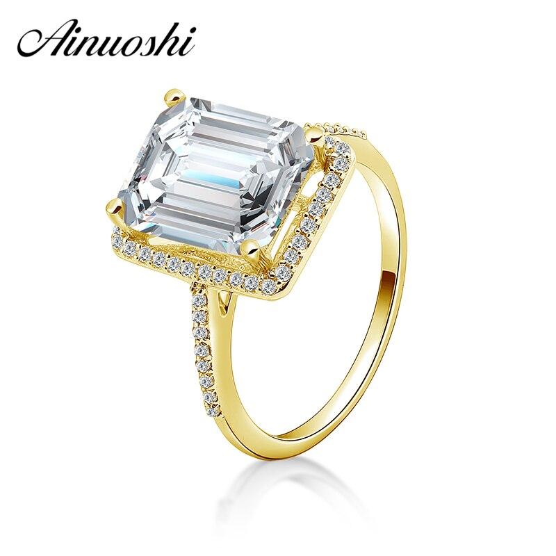 AINUOSHI 14K Solid Yellow Gold Rectangle Halo Ring 4ct Emerald Cut Luxury Big Stone Women Wedding