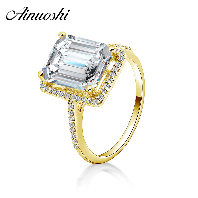 1 Ct Emerald Cut Solitaire Engagement Wedding Ring Solid Real 14K Yellow Gold