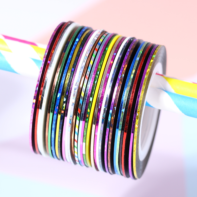 10 Rolls 1mm Glitter Nail Striping Tapes Adhesive Line Sticker Tips Decorations DIY Self-Adhesive Decal for Polish Gel Manicure 10pcs pack 2mm mix colors rolls metallic adhesive striping tape wide line diy nail art tips strip sticker decal decoration kit