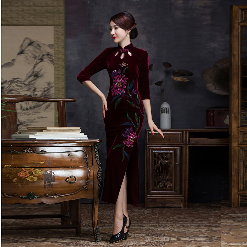 Sexy diseñador de estiramiento Cheongsam Velor Qipao vestido tradicional chino de noche vestidos de baile largo túnica oriental Qi Pao moderno