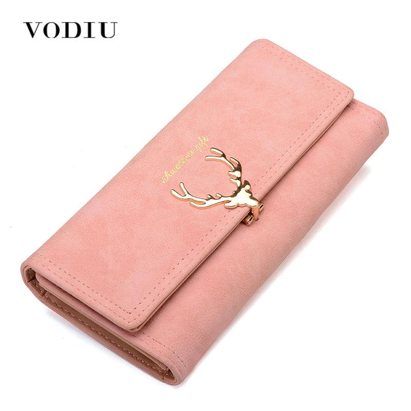 Frauen Brieftasche Brieftasche Weibliche Geldbörse Leder Trifold Lange Münze Halter Telefon Brieftasche Metall Weihnachten Hirsch Bargeld Tasche Mode