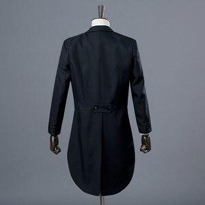 Image 2 - PYJTRL イングランド紳士ツーピース黒ホワイト新郎格安ウェディングタキシードスーツ男性のクラシックテールコートとパンツスリムフィット