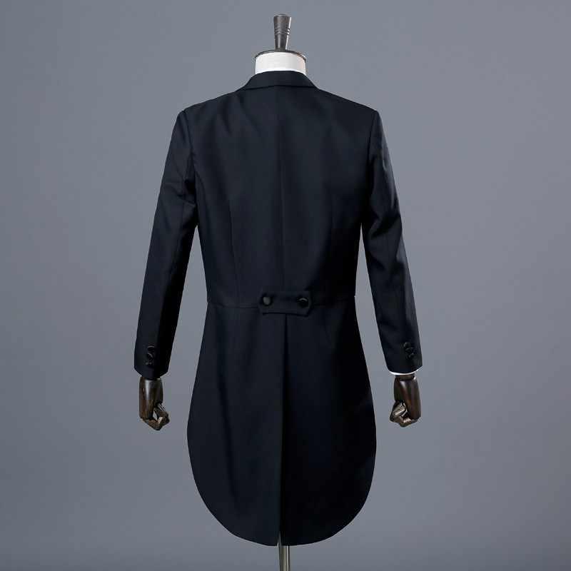 PYJTRL イングランド紳士ツーピース黒ホワイト新郎格安ウェディングタキシードスーツ男性のクラシックテールコートとパンツスリムフィット