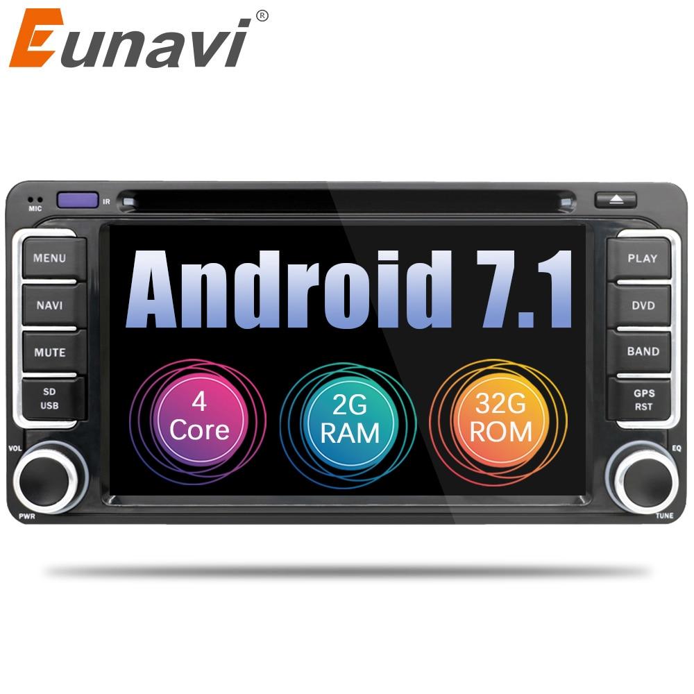 Eunavi 2 Din Android 7.1 Car DVD GPS Per Toyota Hilux Yaris Vios Camry Corolla Rav4 Prado 2003 2004 2005 2006 2007 2008 2g di RAM