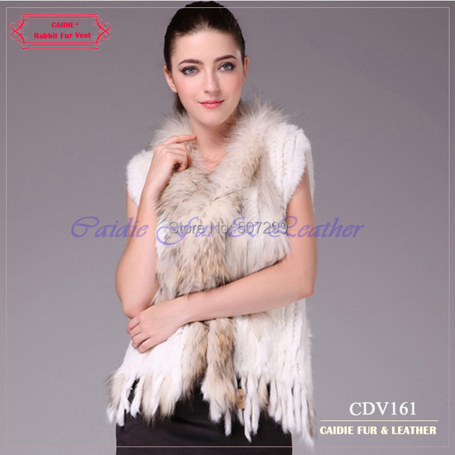 Free Shipping 2014 Hot Sale Europe Design Knitted Rabbit Fur Vest women With Raccoon Fur Trim  100% Handcraft